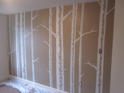 Painting the nursery birch tree wall mural natural for Birch trees mural