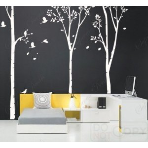 Painting The Nursery Birch Tree Wall Mural Natural