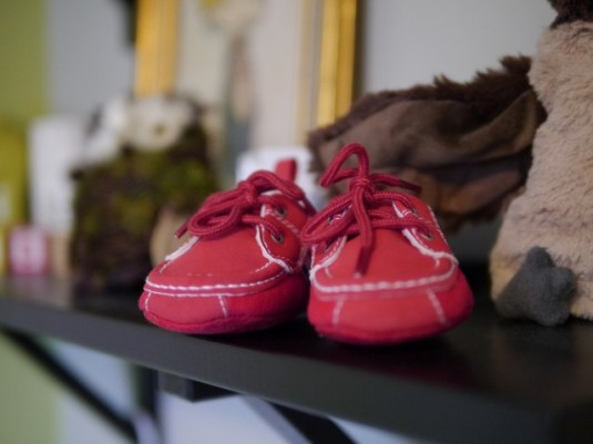 Alex will wear these red shoes with an outfit I bought him for church.