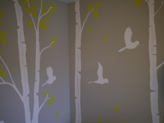 A better picture of the trees and birds I painted