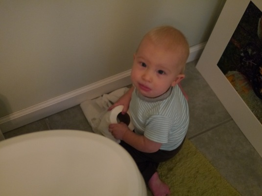 So not in focus, but I had to include it.  His mischievousness with the toilet paper when he thought Mommy wasn't looking....