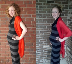 Left: 22 weeks pregnant with baby #2 Right: 22 weeks pregnant with Alex